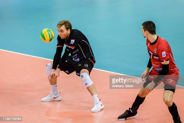 Blair Bann and Matej Patak of Chaumont during the CEV Champions League match Chaumont 52 and SIR Safety Perugia on March 14 2019 in Reims France