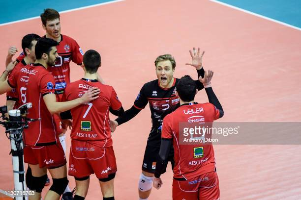 Blair Bann and team of Chaumont during the CEV Champions League match Chaumont 52 and SIR Safety Perugia on March 14 2019 in Reims France