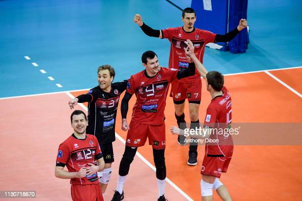 Blair Bann Baptiste Geiler of Chaumont celebrate during the CEV Champions League match Chaumont 52 and SIR Safety Perugia on March 14 2019 in Reims...