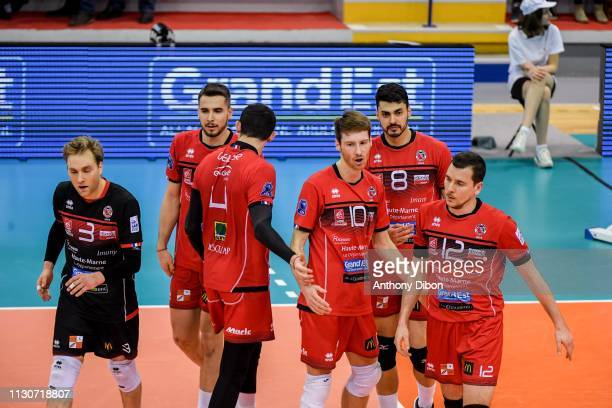 Blair Bann Julien Winkelmuller Jorge Fernandez and Martin Repak of Chaumont during the CEV Champions League match Chaumont 52 and SIR Safety Perugia...