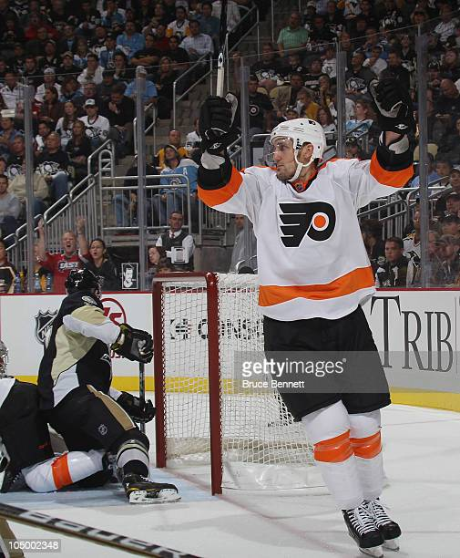 Blair Betts of the Philadelphia Flyers scores a second period goal against MarcAndre Fleury of the Pittsburgh Penguins at the Consol Energy Center on...