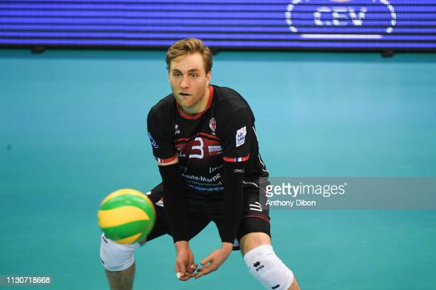 Blair Blann of Chaumont during the CEV Champions League match Chaumont 52 and SIR Safety Perugia on March 14 2019 in Reims France