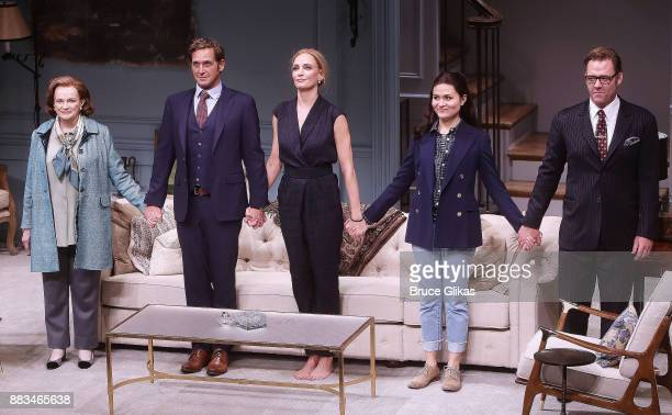 Blair Brown Josh Lucas Uma Thurman Phillipa Soo and Martin Csokas during The Opening Night curtain call for 'The Parisian Woman' on Broadway at The...