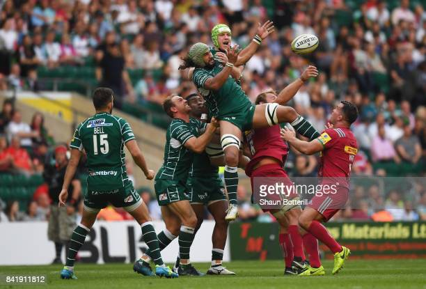 Blair Cowan and Conor Gilsenan of London Irish jump for the ball during the Aviva Premiership match between London Irish and Harlequins at Twickenham...
