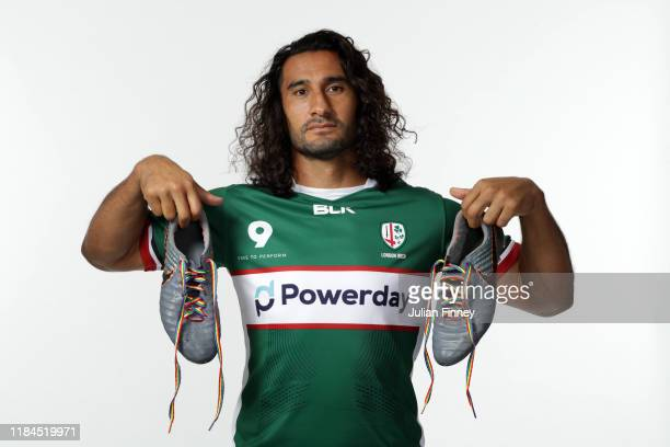 Blair Cowan of London Irish poses for a portrait with rainbow laces on his boots in support of the Stonewall Rainbow Laces Campaign promoting...