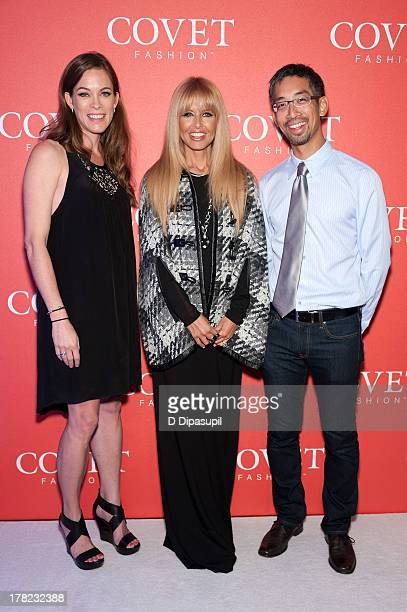 Blair Ethington Rachel Zoe and CrowdStar CEO and cofounder Jeffrey Tseng attend the COVET Fashion Launch Event at 82 Mercer on August 27 2013 in New...