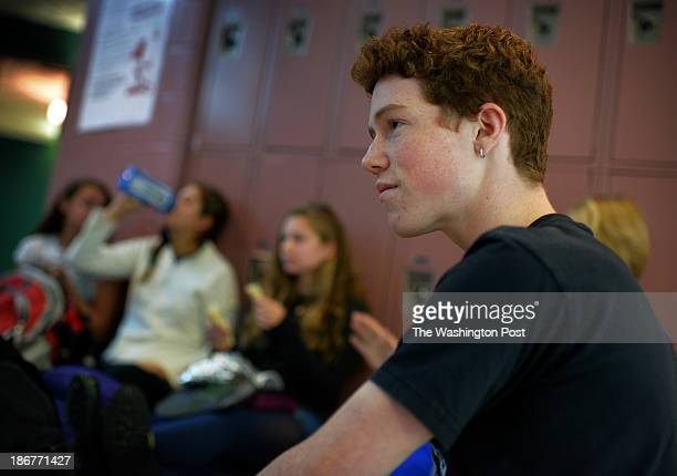Blair HS junior Ben Miller the first to register to vote in Takoma Park municipal elections at lunch in the hallway of Blair high school on October...