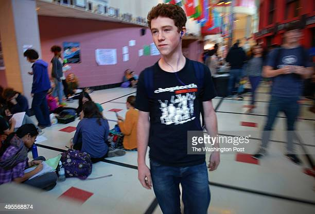 Blair HS junior Ben Miller the first to register to vote in Takoma Park municipal elections in the hallway of Blair high school on October 2013 in...