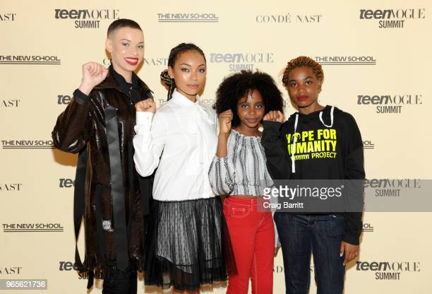 Blair Imani Logan Browning Naomi Wadler and Kenidra Woods attend Teen Vogue Summit 2018 #TurnUp Day 1 at The New School on June 1 2018 in New York...