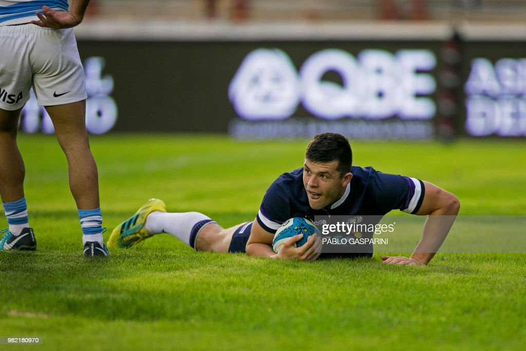 Blair Kinghorn from Scotland, scores a try during their international test match against Argentina, at the Centenario stadium, in Resistencia, Chaco province, Argentina on June 23, 2018.