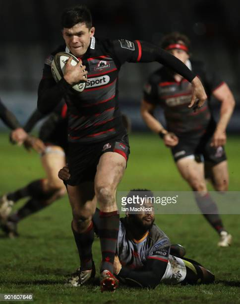 Blair Kinghorn of Edinburgh Rugby is tackled by Kurt Coleman of Southern Kings Rugby during the Guinness Pro14 match between Edinburgh Rugby and...