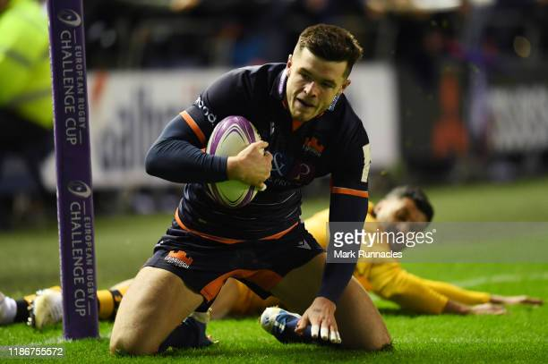 Blair Kinghorn of Edinburgh Rugby scores a try early in the second half during the European Rugby Challenge Cup Round 3 match between Edinburgh Rugby...