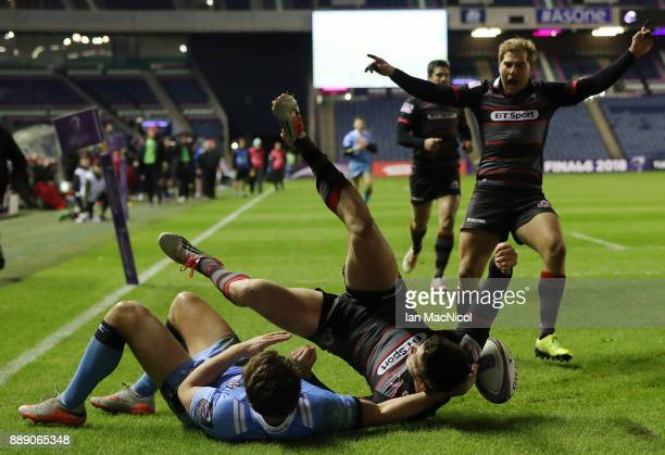 Blair Kinghorn of Edinburgh scores his team's second try during the European Rugby Challenge Cup match between Edinburgh and London Irish on December...