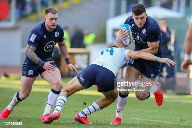 Blair Kinghorn of Scotland in action during the 2020 Guinness Six Nations match between Italy and Scotland at Stadio Olimpico on February 22 2020 in...