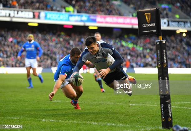 Blair Kinghorn of Scotland scores his sides second try during the Guinness Six Nations match between Scotland and Italy at Murrayfield on February 2...
