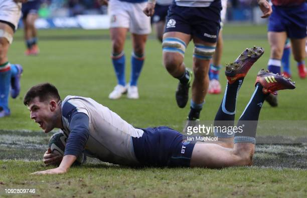 Blair Kinghorn of Scotland scores his third and his sides fourth try during the Guinness Six Nations match between Scotland and Italy at Murrayfield...