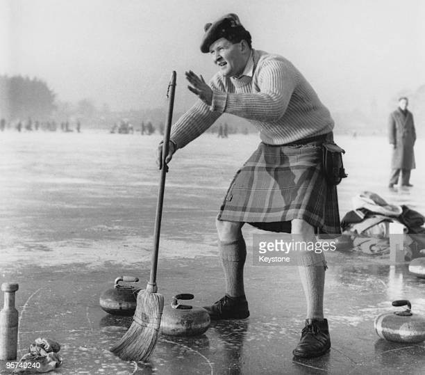 Blair McNaughton taking part in a curling 'Grand Match' of the Royal Caledonian Curling Club on Loch Leven Kinross Scotland 28th January 1959