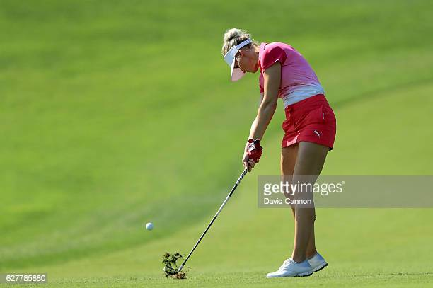 Blair O'Neal of the United States in action during her practice round as a preview for the 2016 Omega Dubai Ladies Masters on the Majlis Course at...