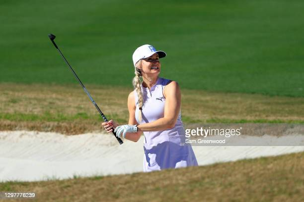 Blair O'Neal plays a shot on the fourth hole during the first round of the Diamond Resorts Tournament Of Champions at Tranquilo Golf Course at the...