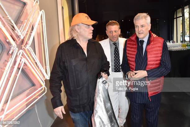 Blair Thurman Lapo Elkann and Alain Elkann attend Blair Thurman Nella Acqua Azzurra Opening an event by Garage Italia e Gagosian on April 16 2018 in...