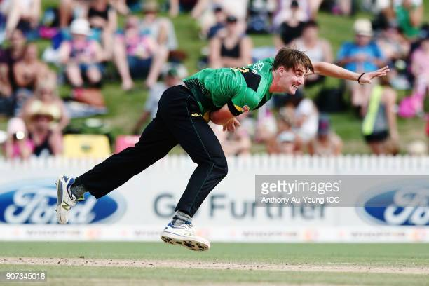 Blair Tickner of the Stags bowls during the Super Smash Grand Final match between the Knights and the Stags at Seddon Park on January 20 2018 in...