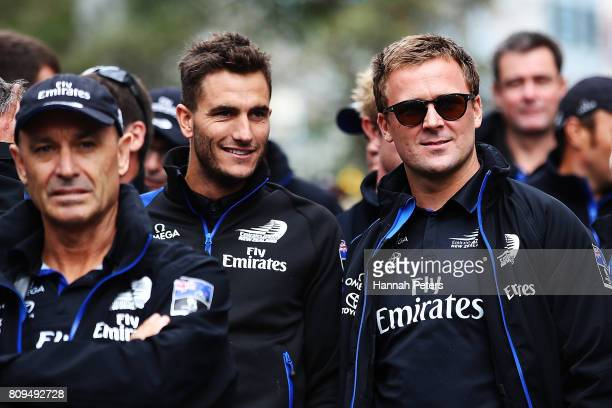 Blair Tuke and Simon van Velthooven of Team New Zealand wait to start the Team New Zealand Americas Cup Welcome Home Parade on July 6 2017 in...