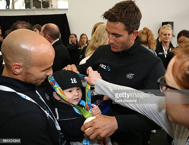 Blair Tuke gold medalist in the 49er yachting class during the New Zealand Olympic Games athlete home coming at Auckland International Airport [OR]...