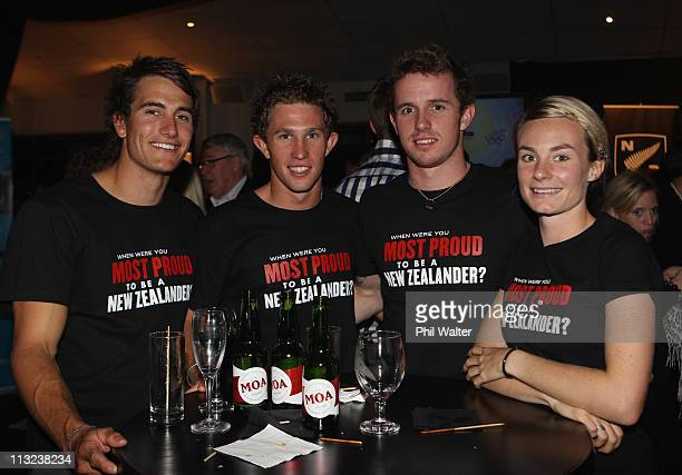 Blair Tuke Ryan Sissons Daniel Bell and Nikki Hamblin during the New Zealand Olympic Committee's London 2012 Campaign Launch at Viaduct Harbour on...