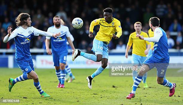 Blair Turgott of Coventry City looks to beat the Peterborough United defence during the Sky Bet League One match between Peterborough United and...