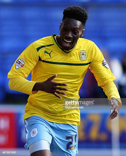Blair Turgott of Coventry Citycelebrates his goal during the Sky Bet League One match between Peterborough United and Coventry City at ABAX Stadium...