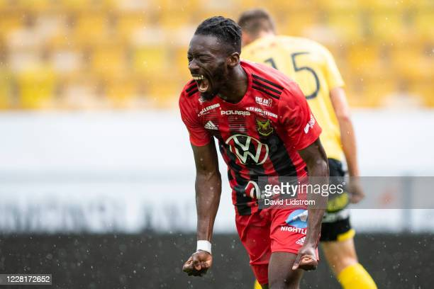 Blair Turgott of Ostersunds FK reacts after scoring the 0-1 goal during the Allsvenskan match between IF Elfsborg and Ostersunds FK at Boras Arena on...