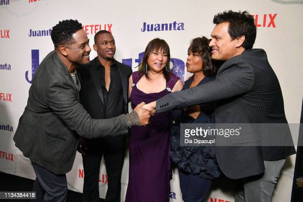 Blair Underwood Acorye' White Tsulan Cooper Alfre Woodard and Adam Beach attend the 'Juanita' New York screening at Metrograph on March 07 2019 in...