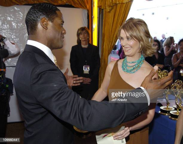 Blair Underwood and Cynthia Nixon during The 56th Annual Primetime Emmy Awards Trophy Room at The Shrine Auditorium in Los Angeles California United...