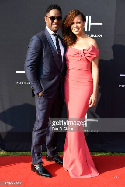 Blair Underwood and Desiree DaCosta attend Tyler Perry Studios grand opening gala at Tyler Perry Studios on October 05 2019 in Atlanta Georgia