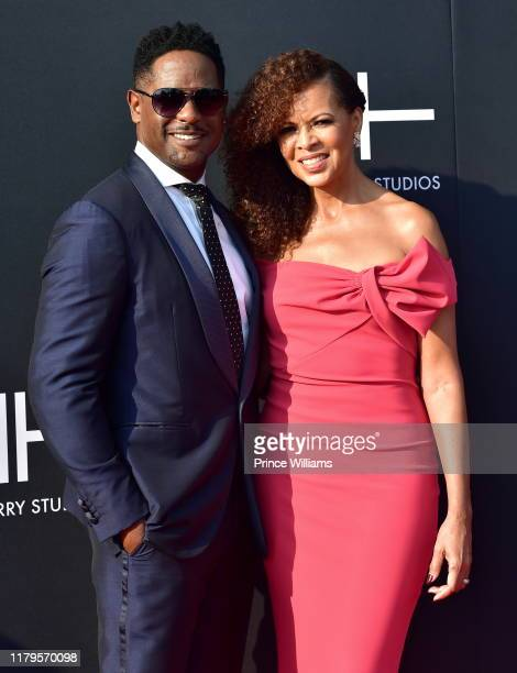 Blair Underwood and Desiree DaCosta attend Tyler Perry Studios Grand Opening Gala Arrivals at Tyler Perry Studios on October 5 2019 in Atlanta Georgia