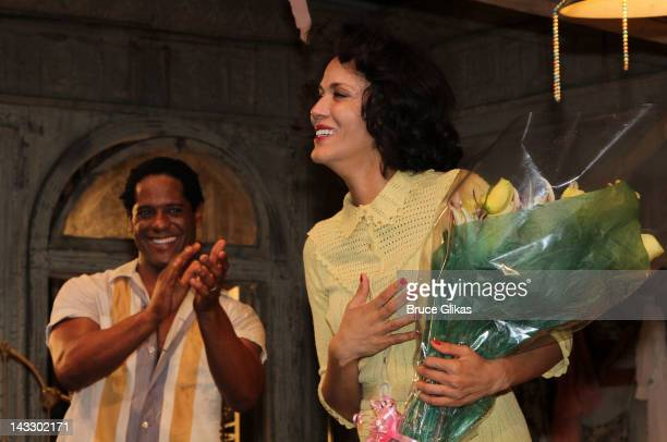 Blair Underwood and Nicole Ari Parker take their opening night curtain call in A Streetcar Named Desire at The Broadhurst Theatre on April 22 2012 in...