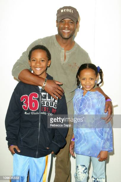 Blair Underwood with son Paris and daughter Briel during EA's Harry Potter And The Order Of The Phoenix Video Game Launch at Electronics Arts LA in...