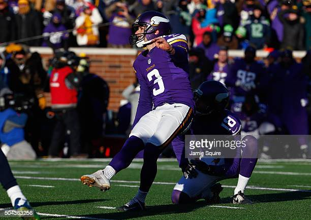 Blair Walsh of the Minnesota Vikings misses a 27yard field goal in the fourth quarter against the Seattle Seahawks during the NFC Wild Card Playoff...
