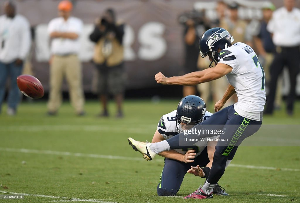 Blair Walsh #7 of the Seattle Seahawks kicks a field goal against the Oakland Raiders during the first quarter of their game at the Oakland-Alameda County Coliseum on August 31, 2017 in Oakland, California.