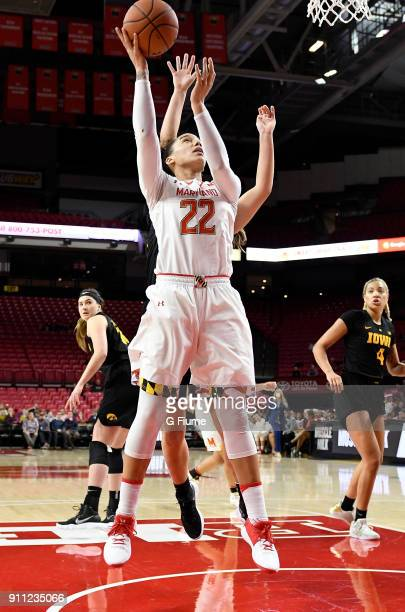 Blair Watson of the Maryland Terrapins drives to the hoop against the Iowa Hawkeyes at Xfinity Center on January 4 2018 in College Park Maryland