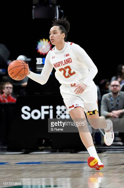Blair Watson of the Maryland Terrapins handles the ball against the Ohio State Buckeyes during the Championship game of Big Ten Women's Basketball...