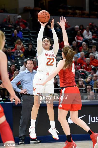 Blair Watson of the Maryland Terrapins shoots the ball against the Ohio State Buckeyes during the Championship game of Big Ten Women's Basketball...