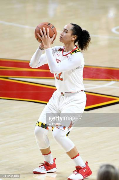 Blair Watson of the Maryland Terrapins shoots the ball against the Iowa Hawkeyes at Xfinity Center on January 4 2018 in College Park Maryland