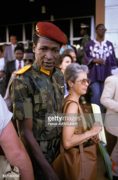 Blaise Compaore, Justice Minister of Burkina Faso, during the visit of French President Francois Mitterrand on November 18, 1986 in Ougadougou,...
