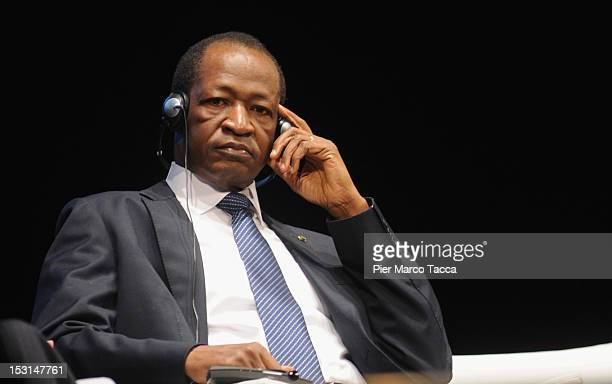 Blaise Compaore President of Burkina Faso attends the Forum of International Cooperation at Piccolo Teatro Strehler on October 1, 2012 in Milan,...
