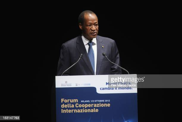 Blaise Compaore President of Burkina Faso speaks during the Forum of International Cooperation at Piccolo Teatro Strehler on October 1, 2012 in...