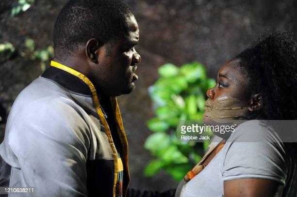 Blaise Malaba as Second Elder and Masabane Cecilia Rangwanasha as Susanna in The Royal Opera's production of George Frideric Handel's Susanna...