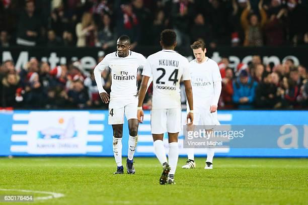 Blaise Matuidi and Christopher Nkunku of Paris Saint Germain looks dejected during the French Ligue 1 match between Guingamp and Paris Saint Germain...