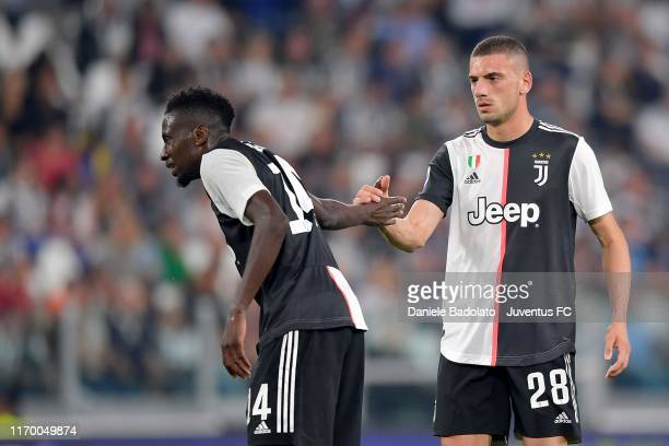 Blaise Matuidi and Merih Demiral of Juventus celebrate the victory after the Serie A match between Juventus and Hellas Verona at on September 22 2019...