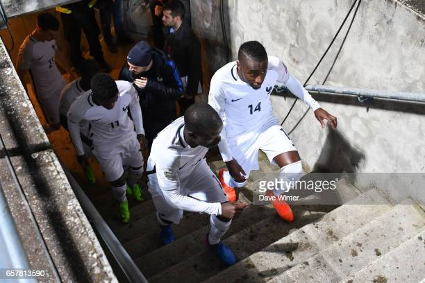 Blaise Matuidi and Ngolo Kante of France come out for the second half of the FIFA World Cup 2018 qualifying match between Luxembourg and France on...